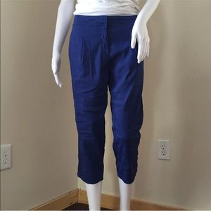Eileen Fisher Women's Pants 6 Blue Cropped Linen